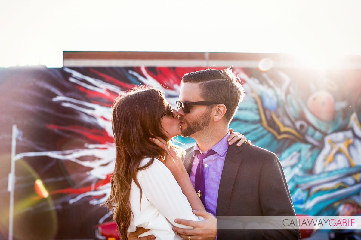 Romantic kissing engagement photo in downtown Los Angeles
