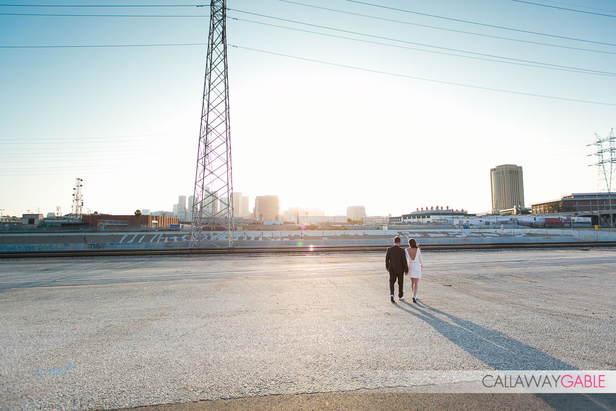 engagement photo overlooking downtown Los Angele