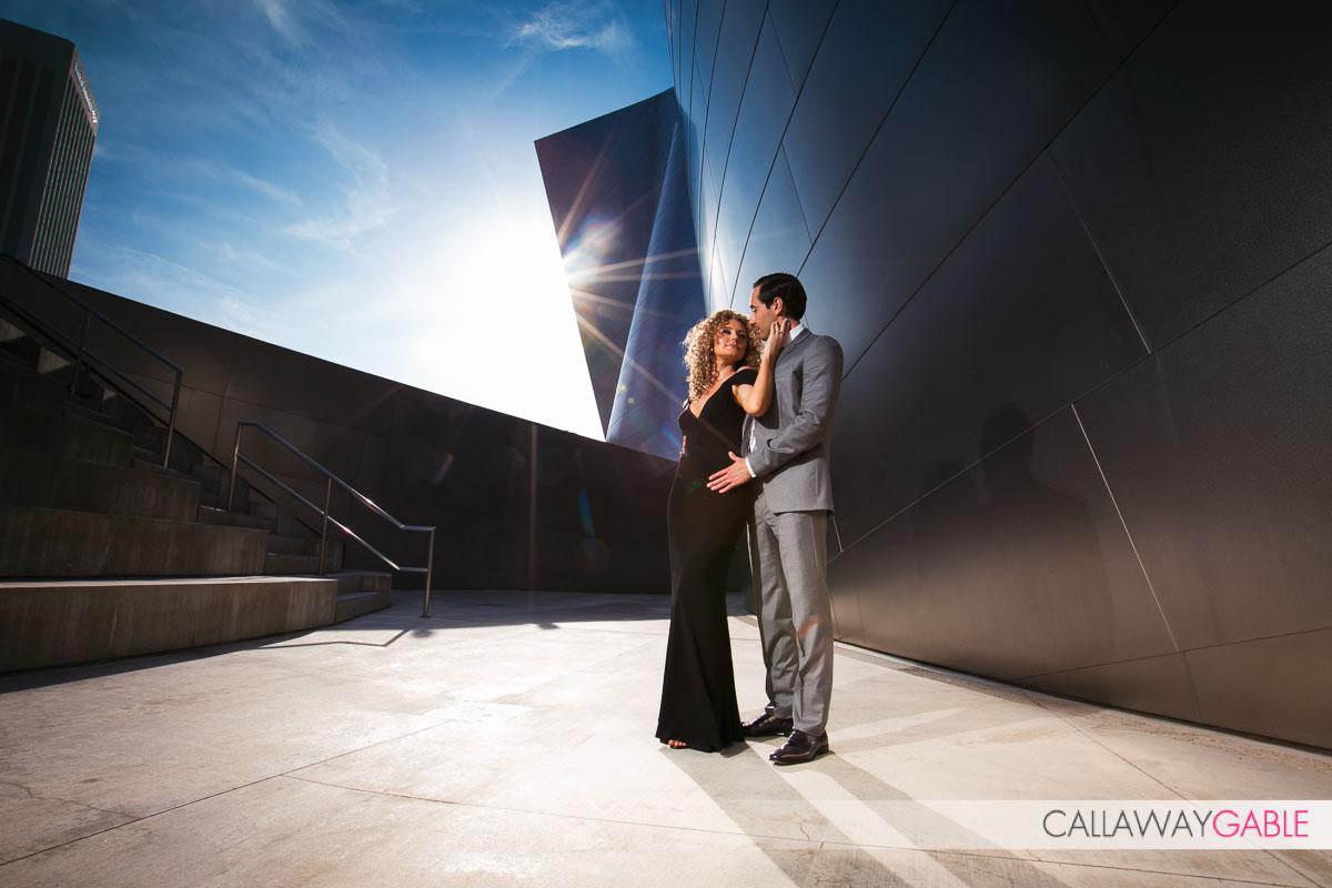 Fashion Disney Concert Hall Engagement Photo