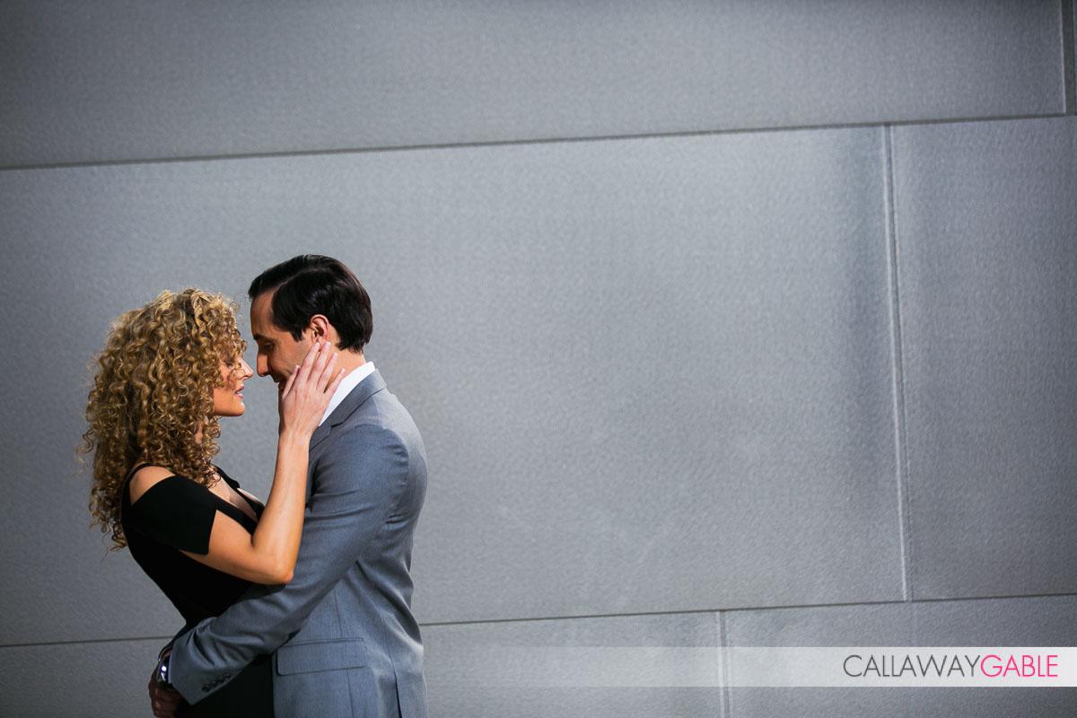 Soft moment at Disney Center engagement photo