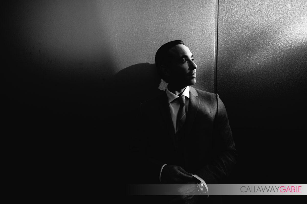 Black and White Disney Center Engagement Photo