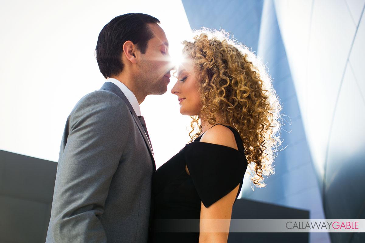 Backlit Engagement photo st Disney Concert Hall