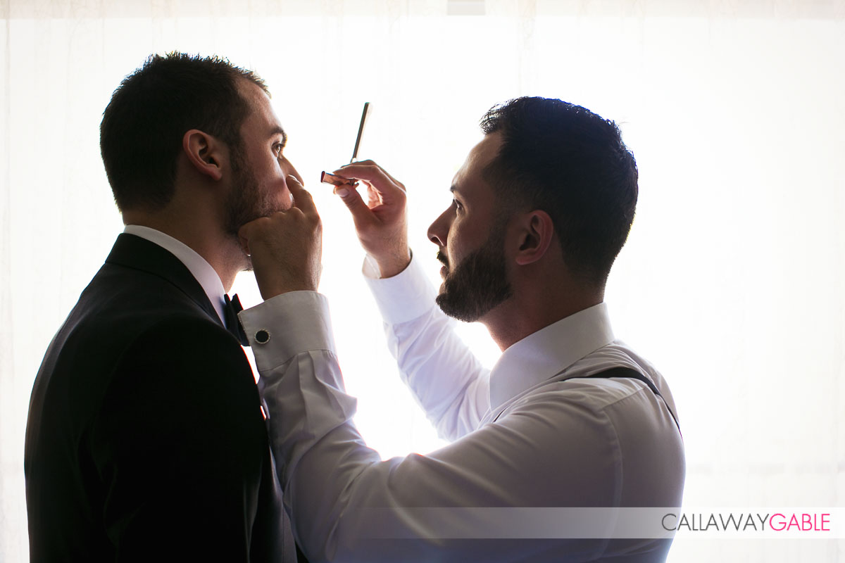 Groom getting ready for his wedding at the Ritz Carlton Laguna Niguel