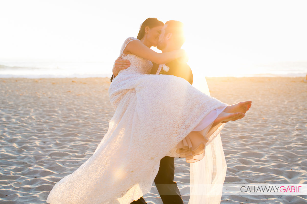 Walking on the beach wedding photo in Laguna Niguel