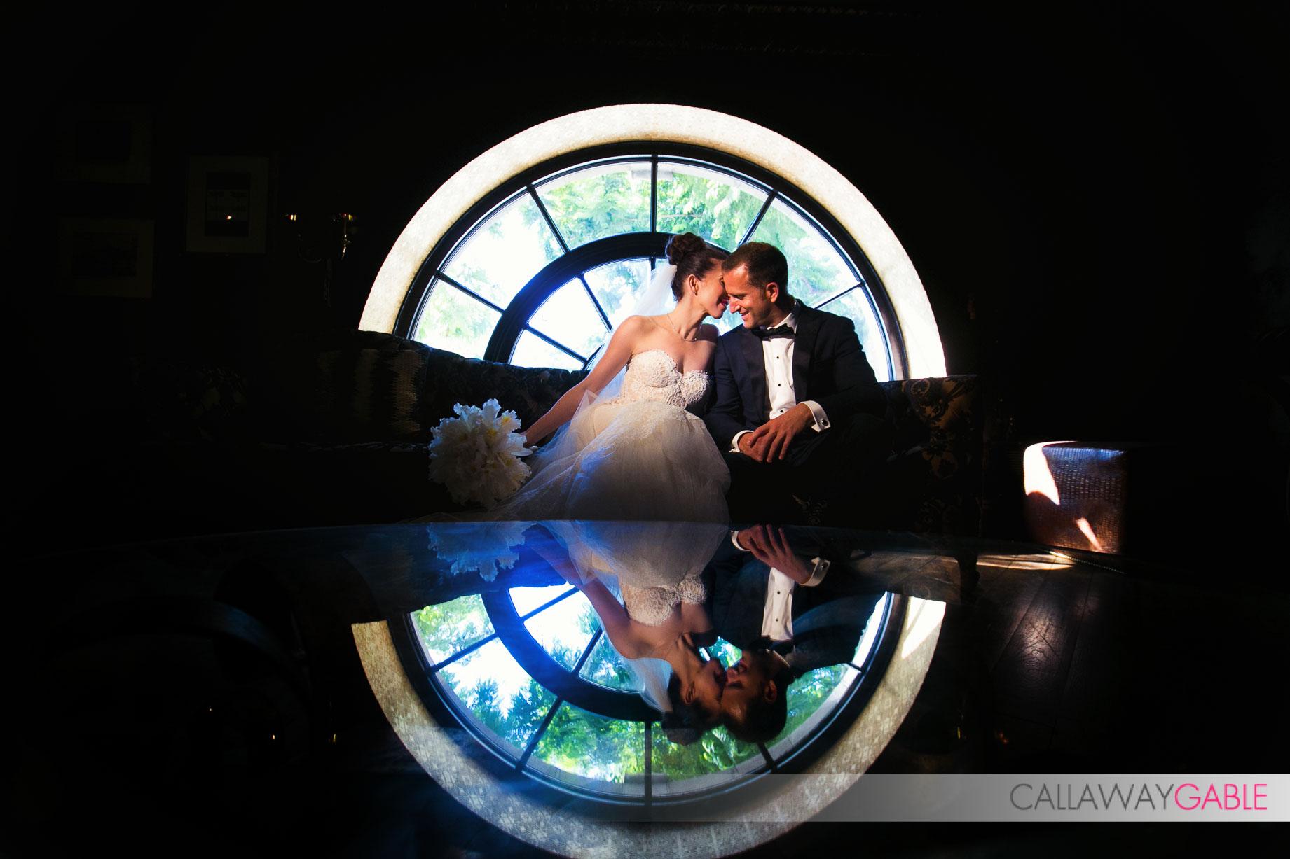 Unique wedding portrait at the Culver Hotel, wedding at Smog Shoppe