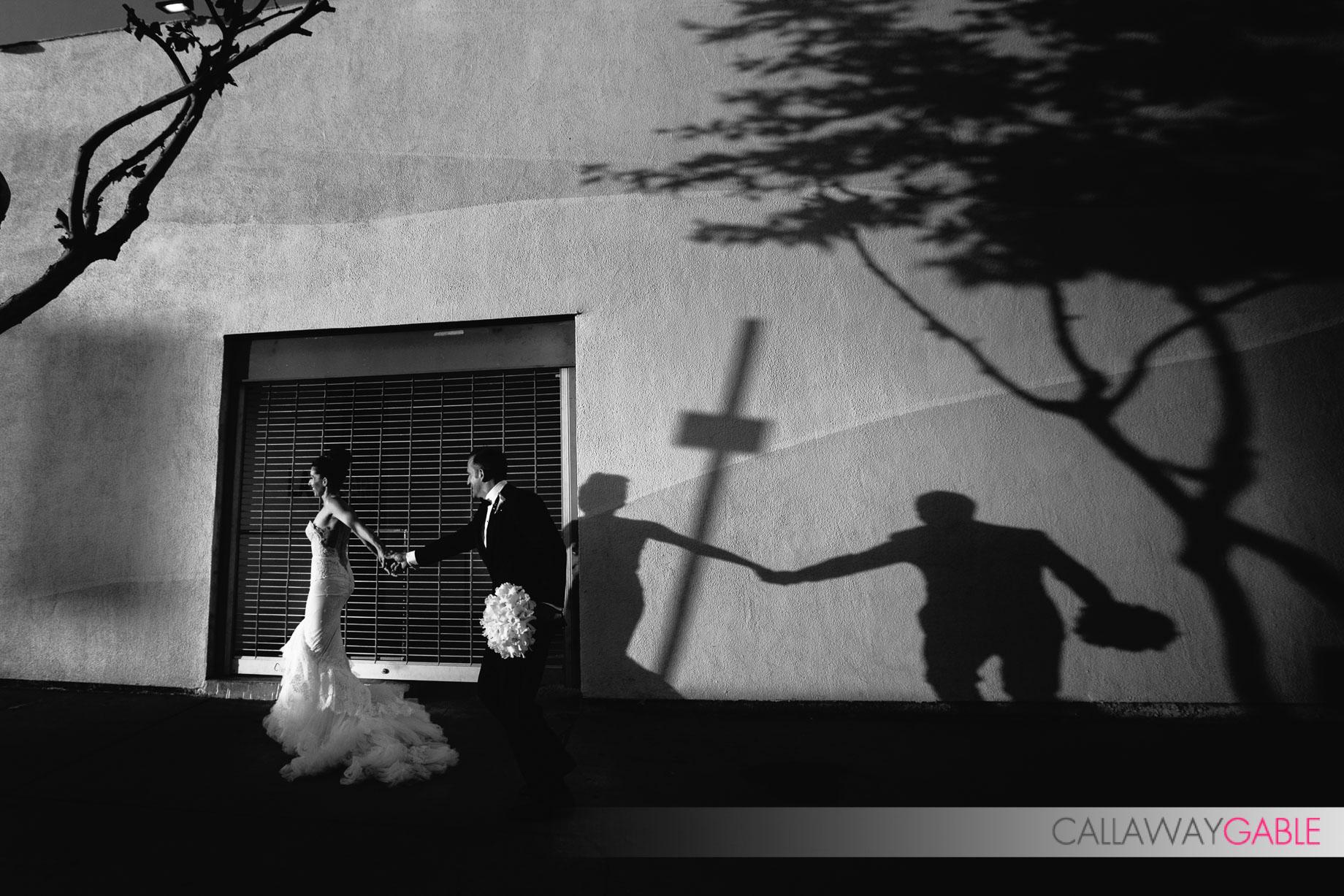 Bride and Groom wedding photo on La Cienega, just outside of Smog Shoppe