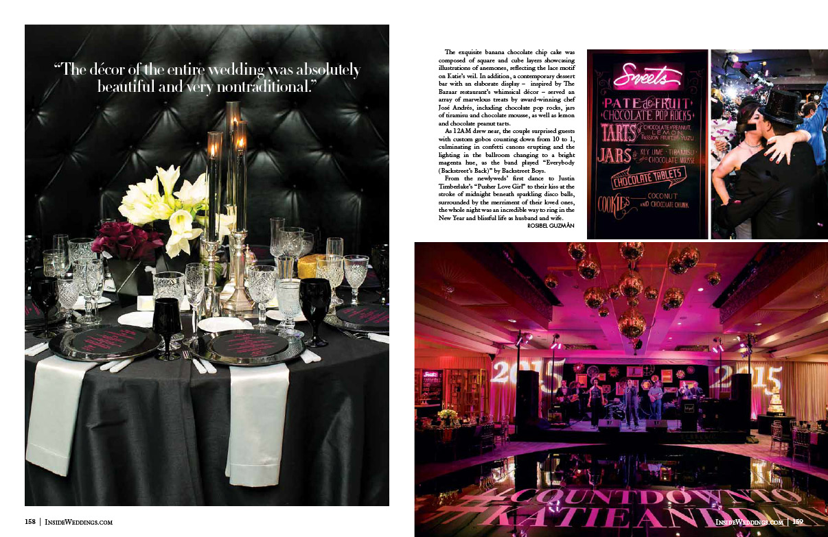 New Years Eve Wedding in Inside Weddings Magazine Page 1