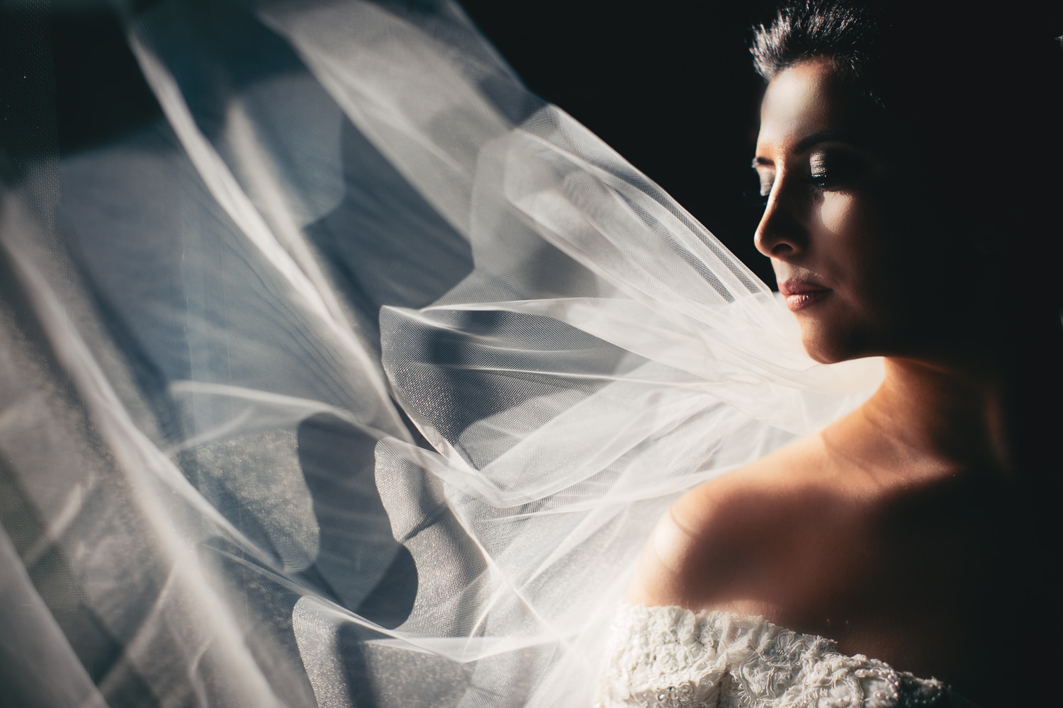 Vibiana Wedding Photo of Bride with her veil
