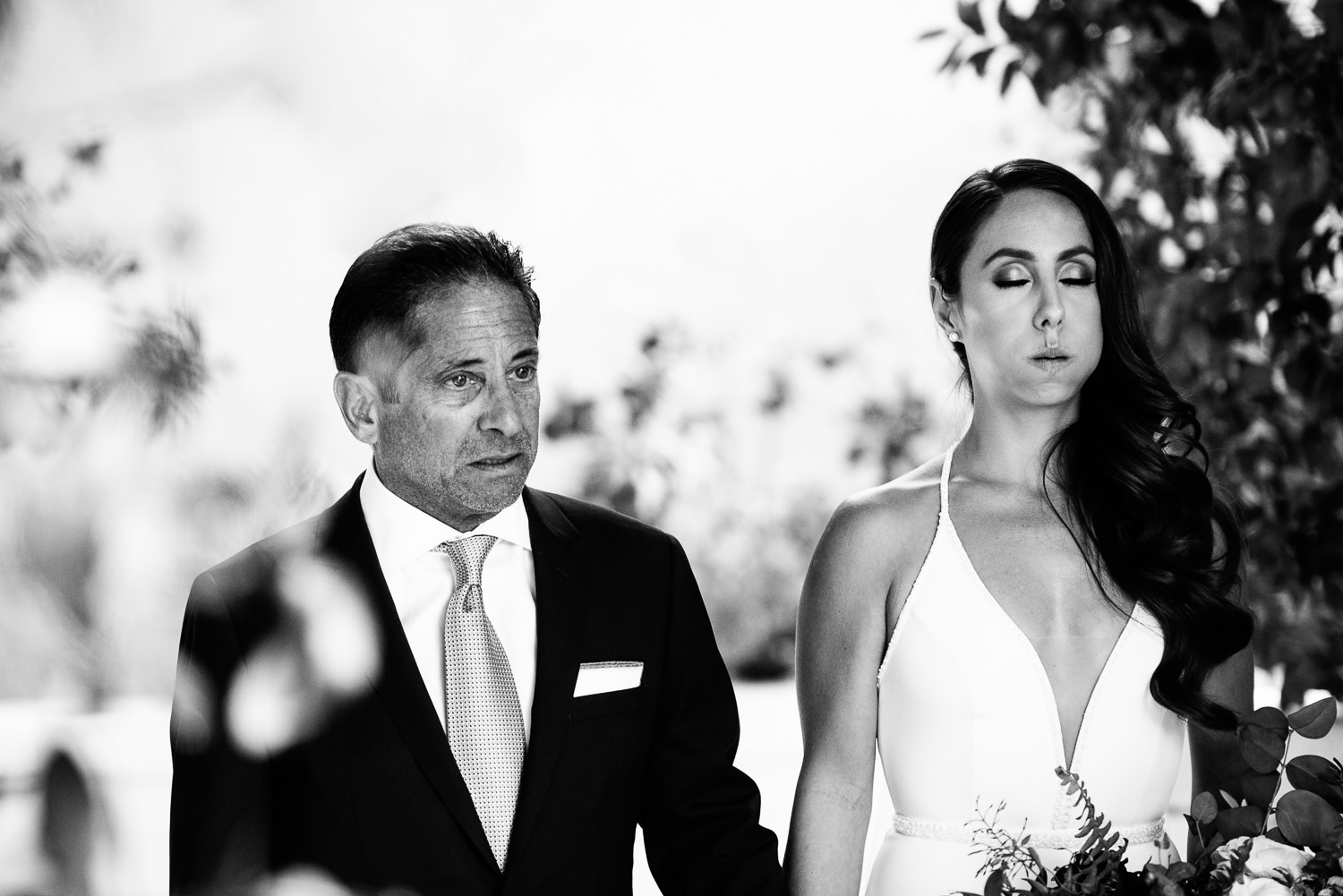 A moment between a bride and her dad at the Parker Palm Springs