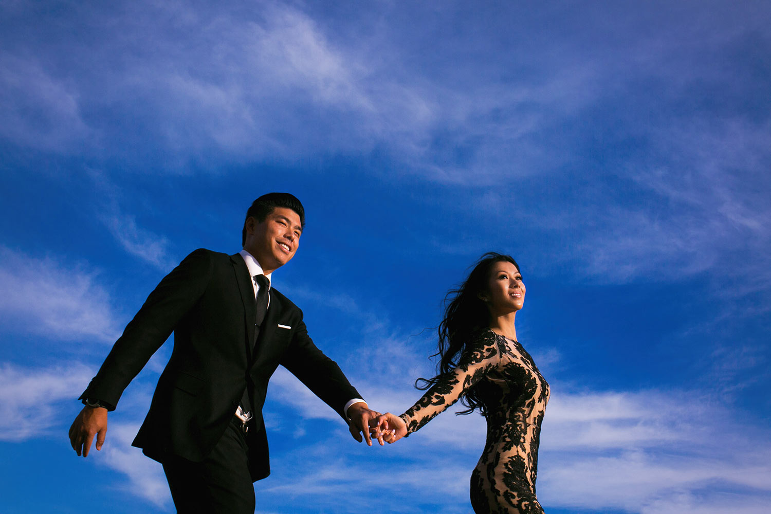 Asian wedding engagement photo session at Disney Concert Hall in Los Angeles