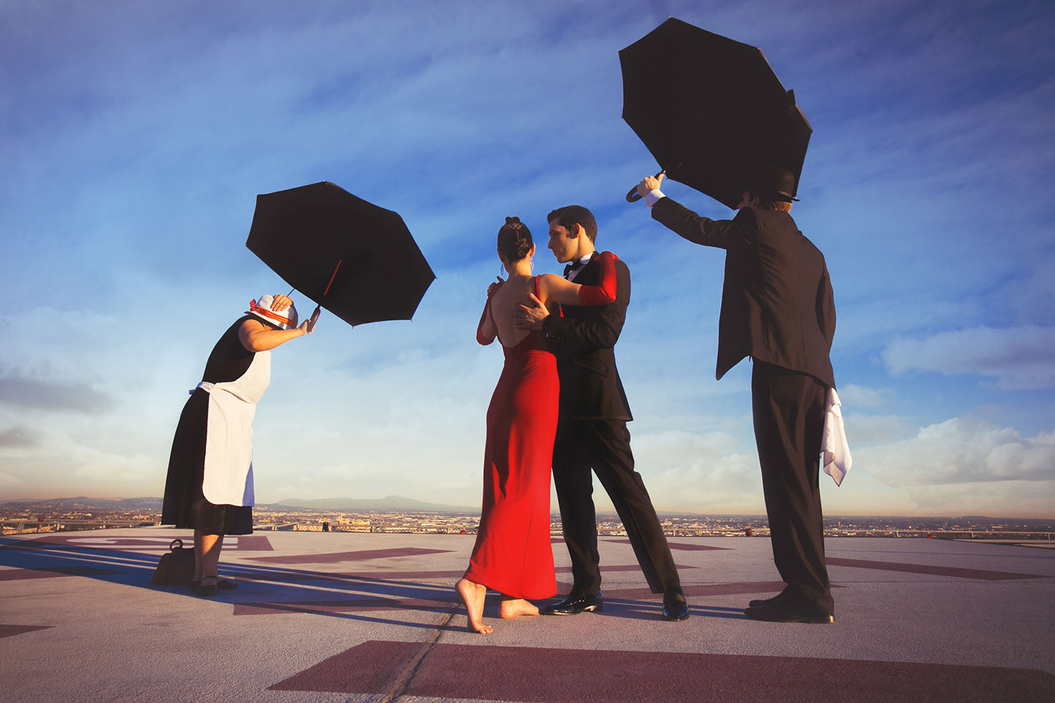 Los Angeles Rooftop engagement photo inspired by the Singing Butler