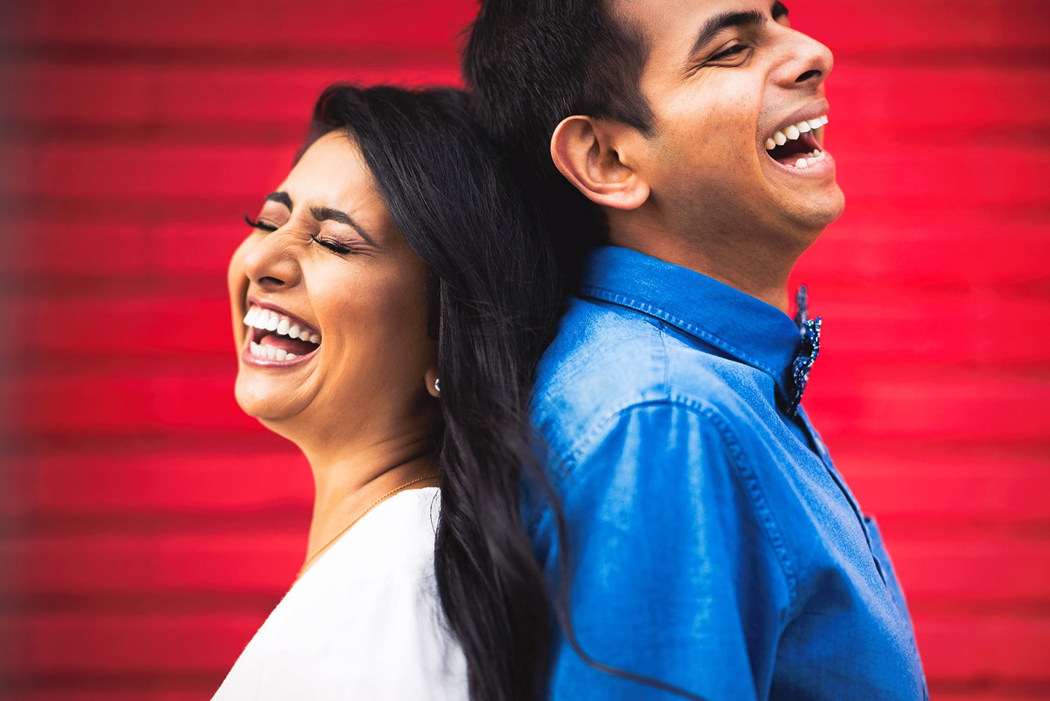 Funny South Asian Indian engagement session photo in Los Angeles