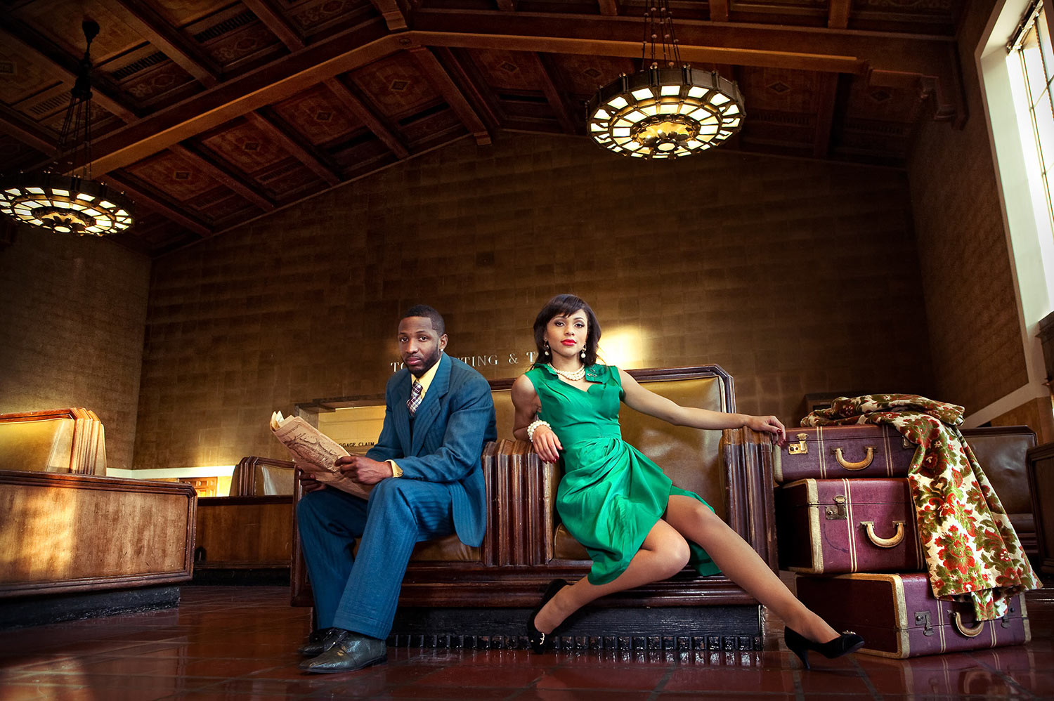Vintage styled African American engagement photo at Union Station in Los Angeles