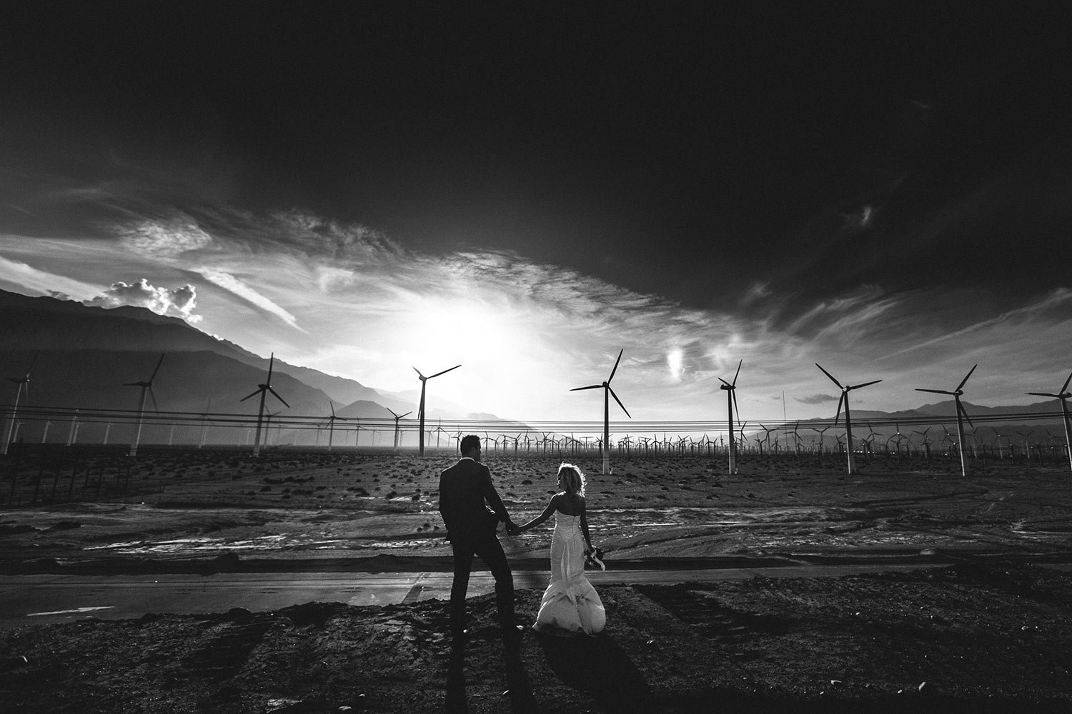 Gorgeous Black and White Landscape Palm Springs Wedding photo with windmills