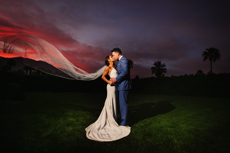 Beautiful sunset at Palm Springs Wedding