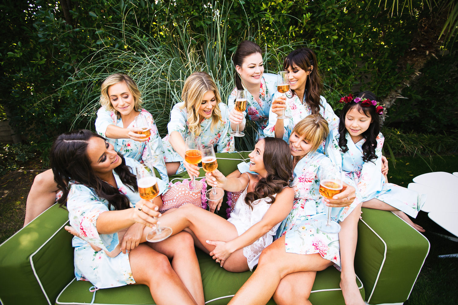 Bride having a drink with friends before her Palm Springs Wedding