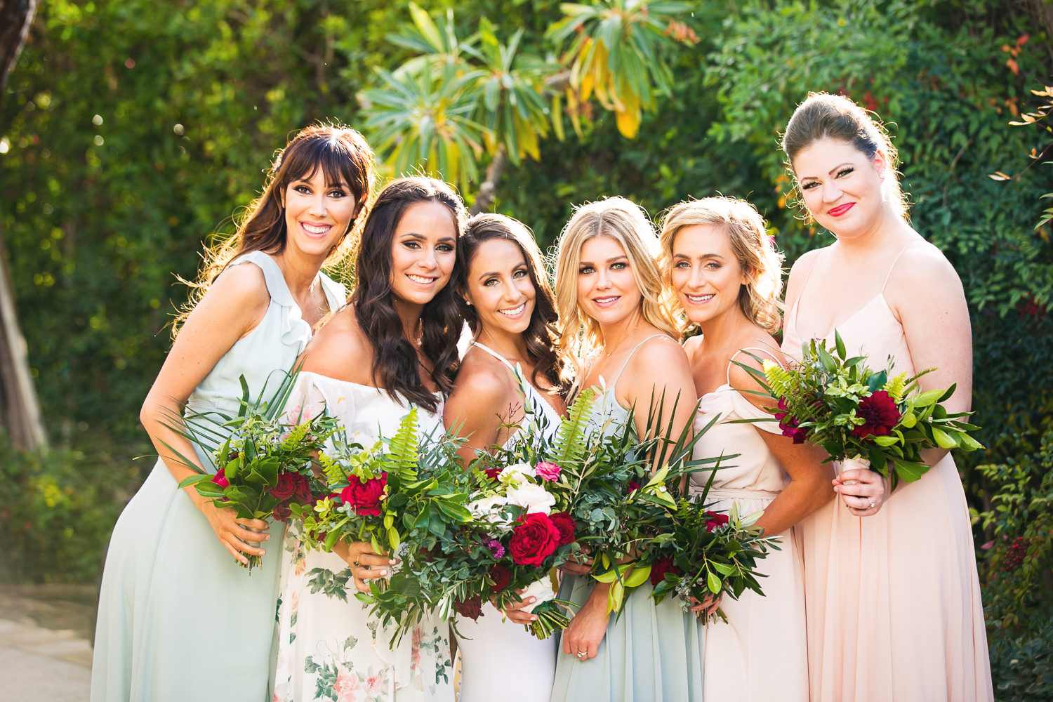 Bride With Bridesmaids For Her Palm Springs Wedding