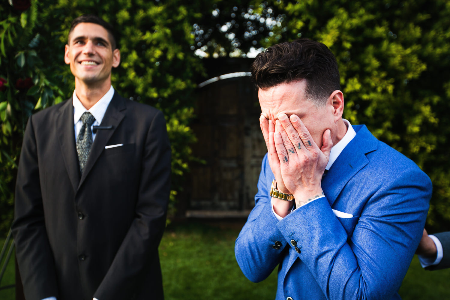 Grooms emotions as his bride walks the aisle at their Parker Palm Springs Wedding