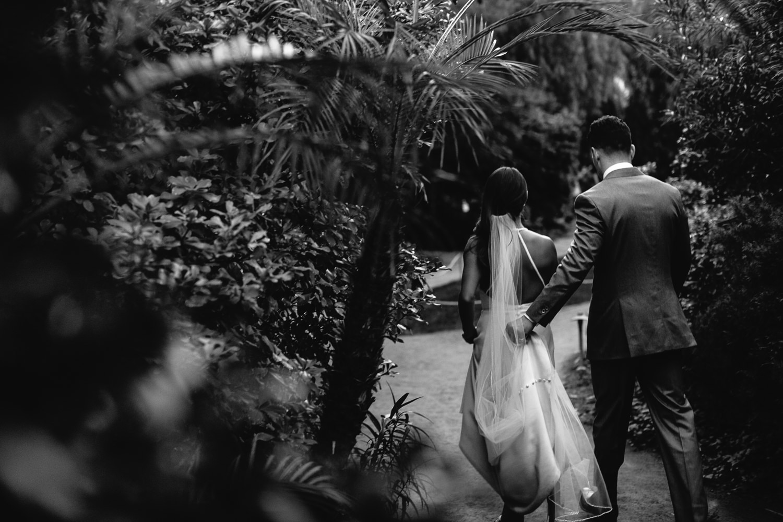 Parker wedding black & white of couple in garden