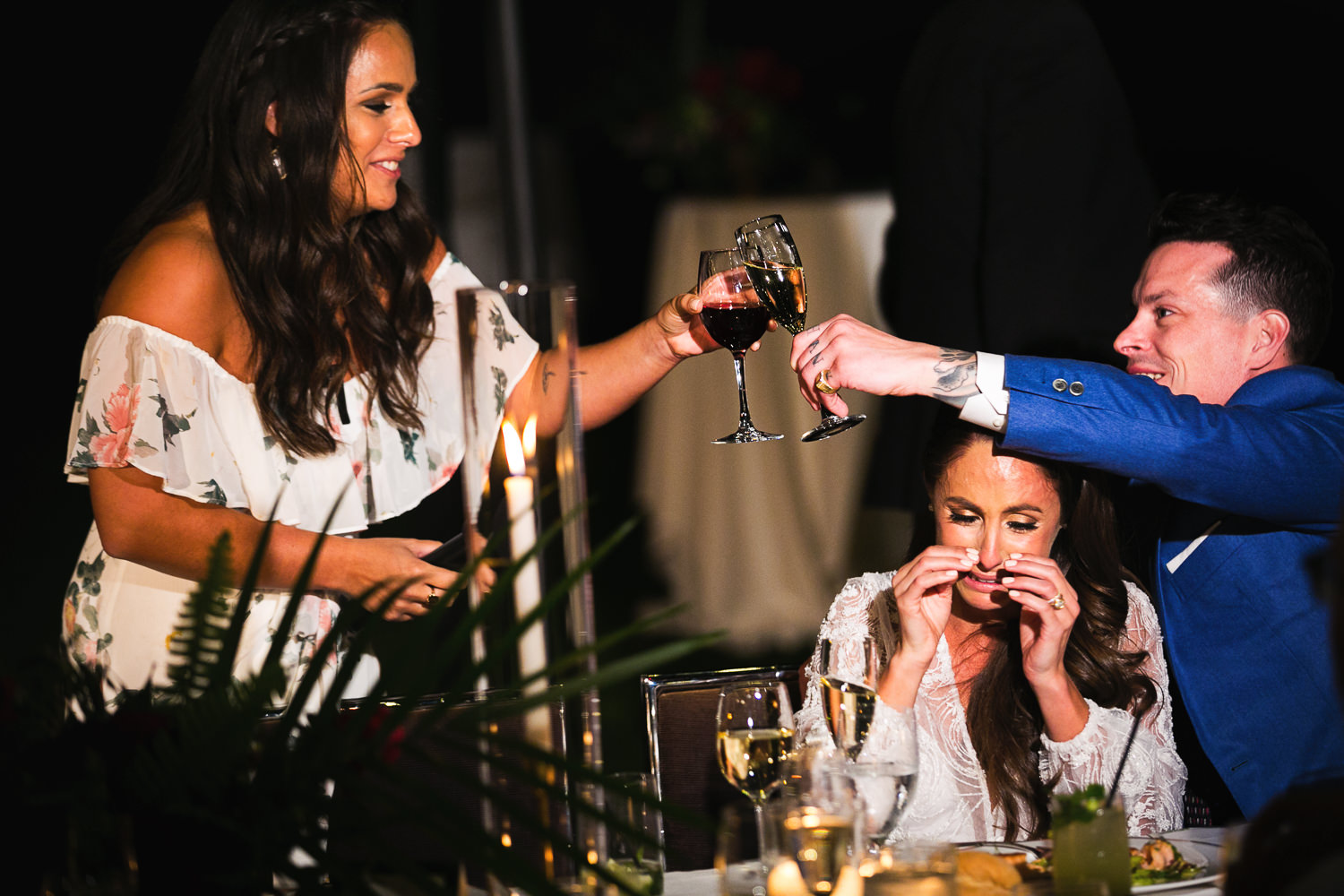 Bride cries at her toast at Palm Springs Wedding