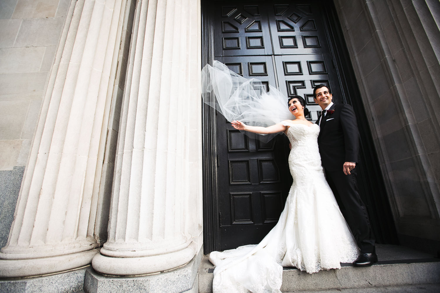Vibiana Wedding Photographs of Bride & Groom Outside the Front Doors