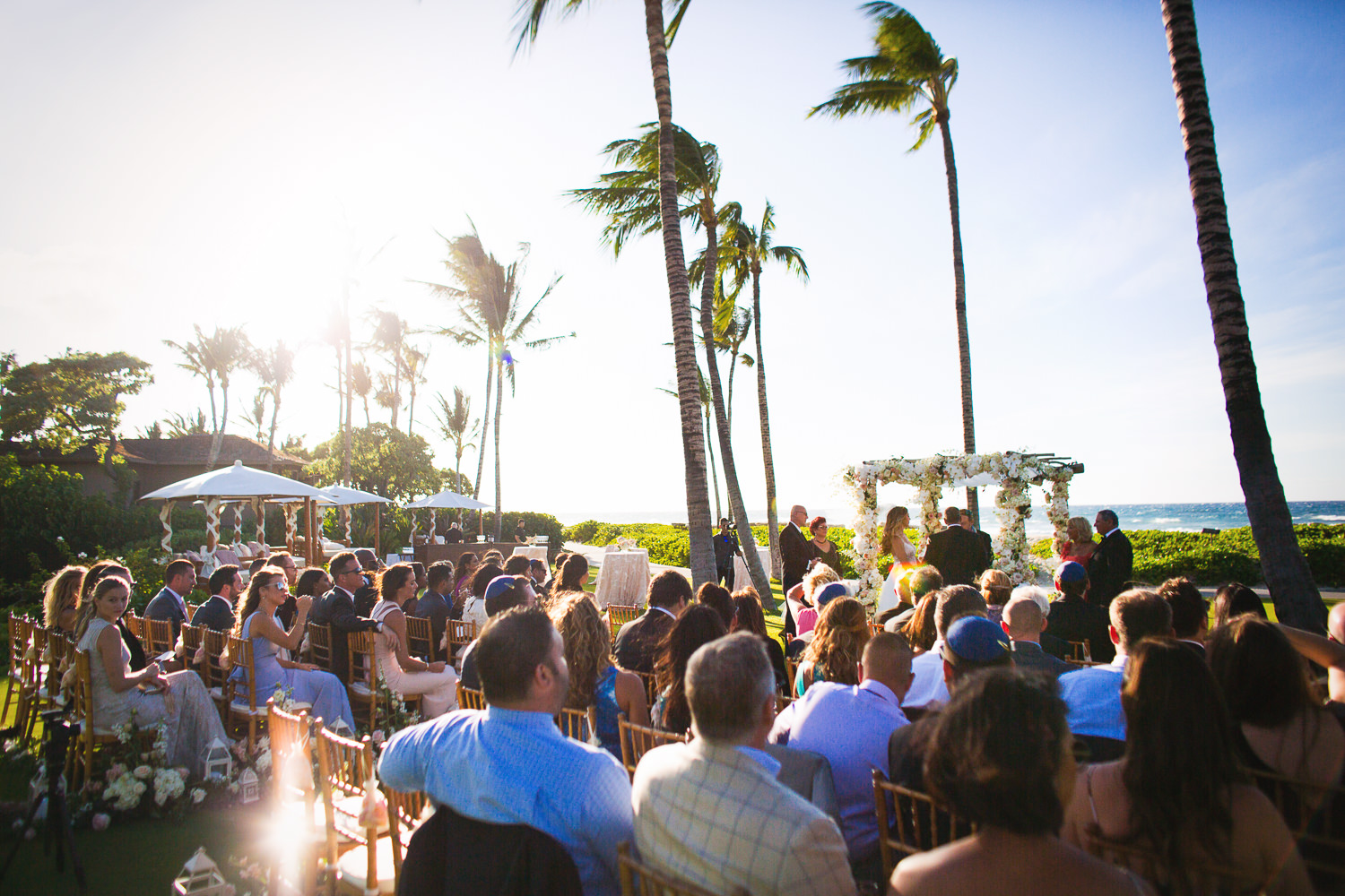 Wide shot of Outdoor Wedding Ceremony at the Four Seasons Hualalai