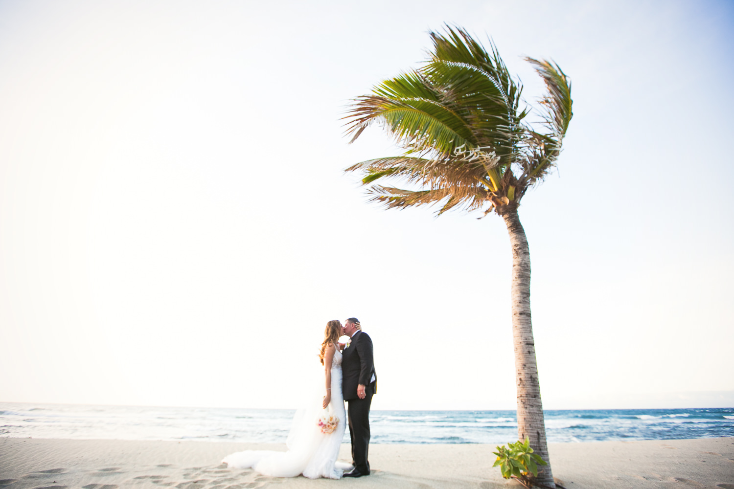 Bride and groom under a palm tree at the Four Seasons Hualalai by Big Island wedding photographer Callaway Gable