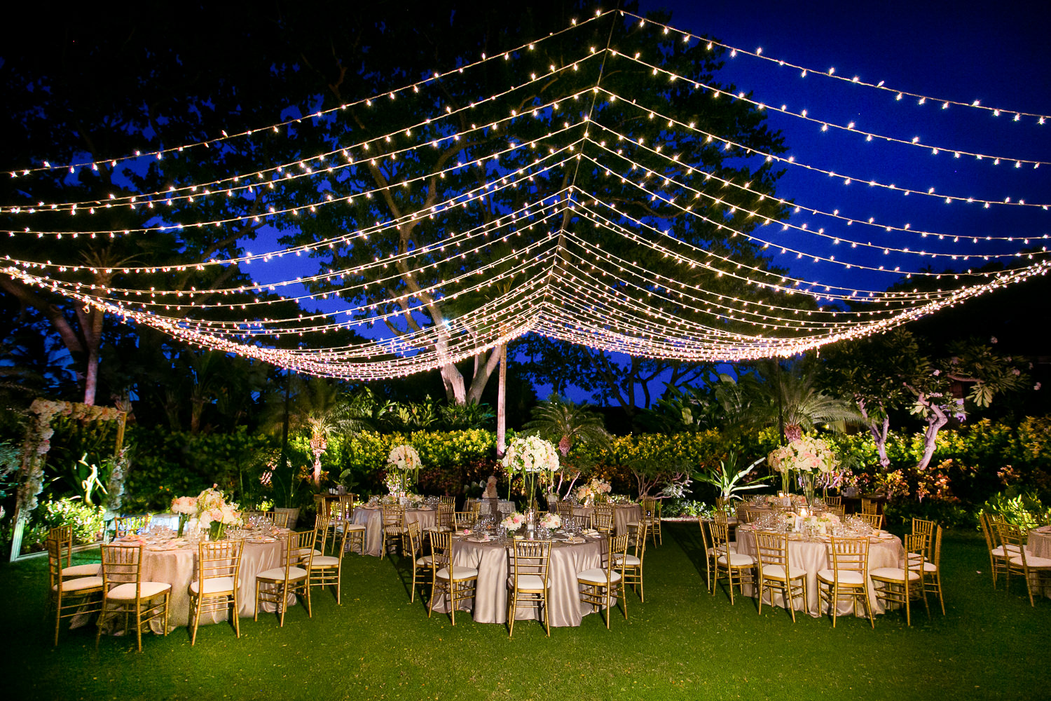 Reception on the lawn at a Outdoor Wedding at the Four Seasons Hualalai