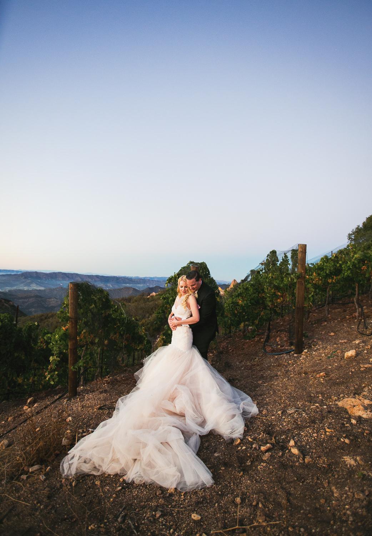Beautiful Wedding photo in the vineyard at Malibu Rocky Oaks
