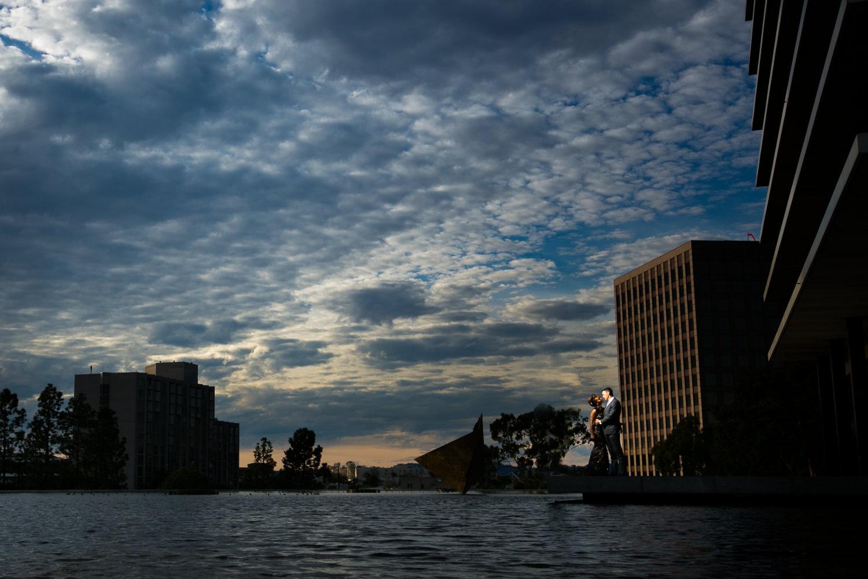 LADWP Building Engagement Photo with Amazing Sunset