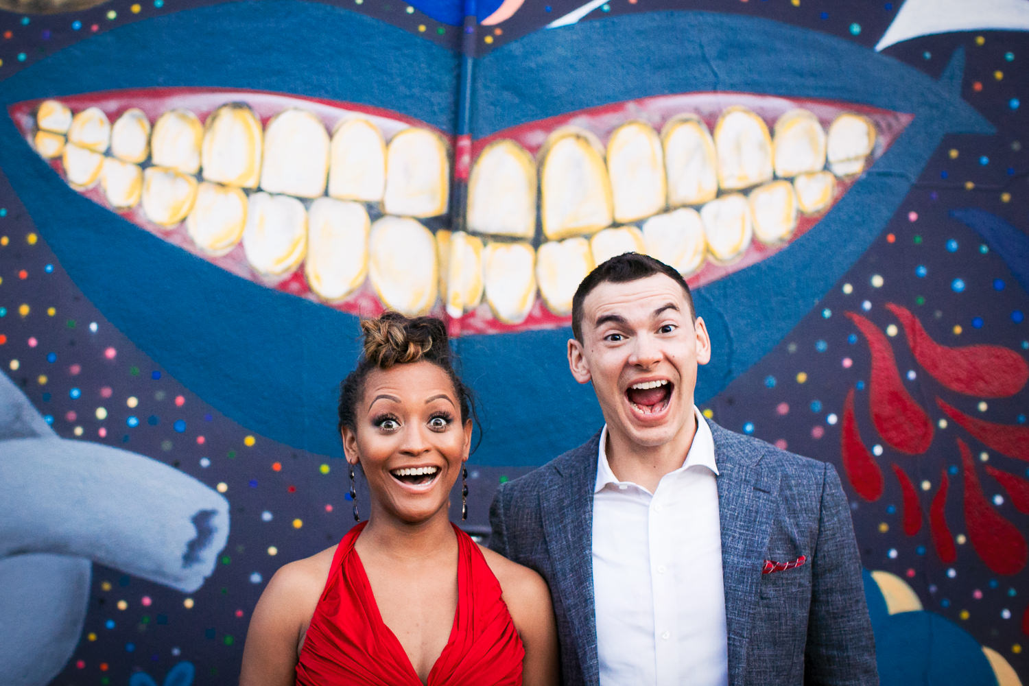 Los Angeles Engagement Photo - Couple Smiling and Laughing