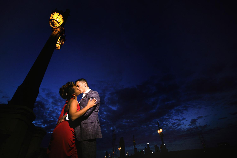 Downtown LA Engagement - Photo of Couple Kissing