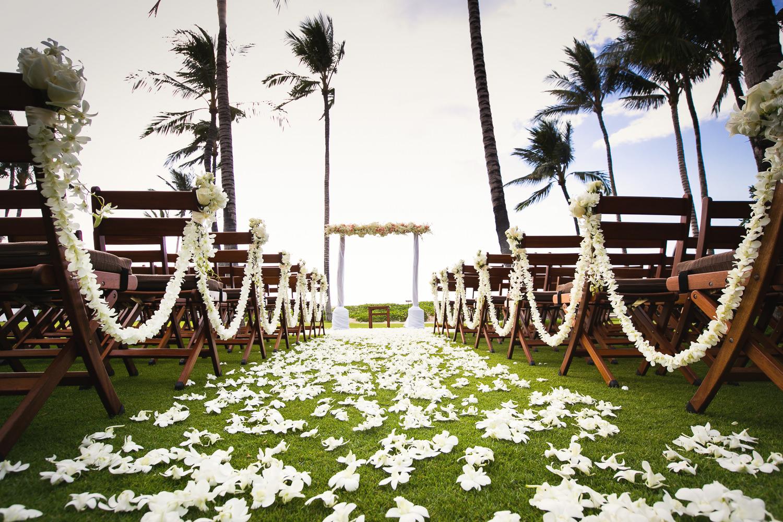 Beautiful Ceremony at Asian Wedding at Four Seasons Hualalai in Kona