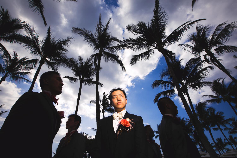 Groomsmen on the beach at Four Seasons Hualalai wedding