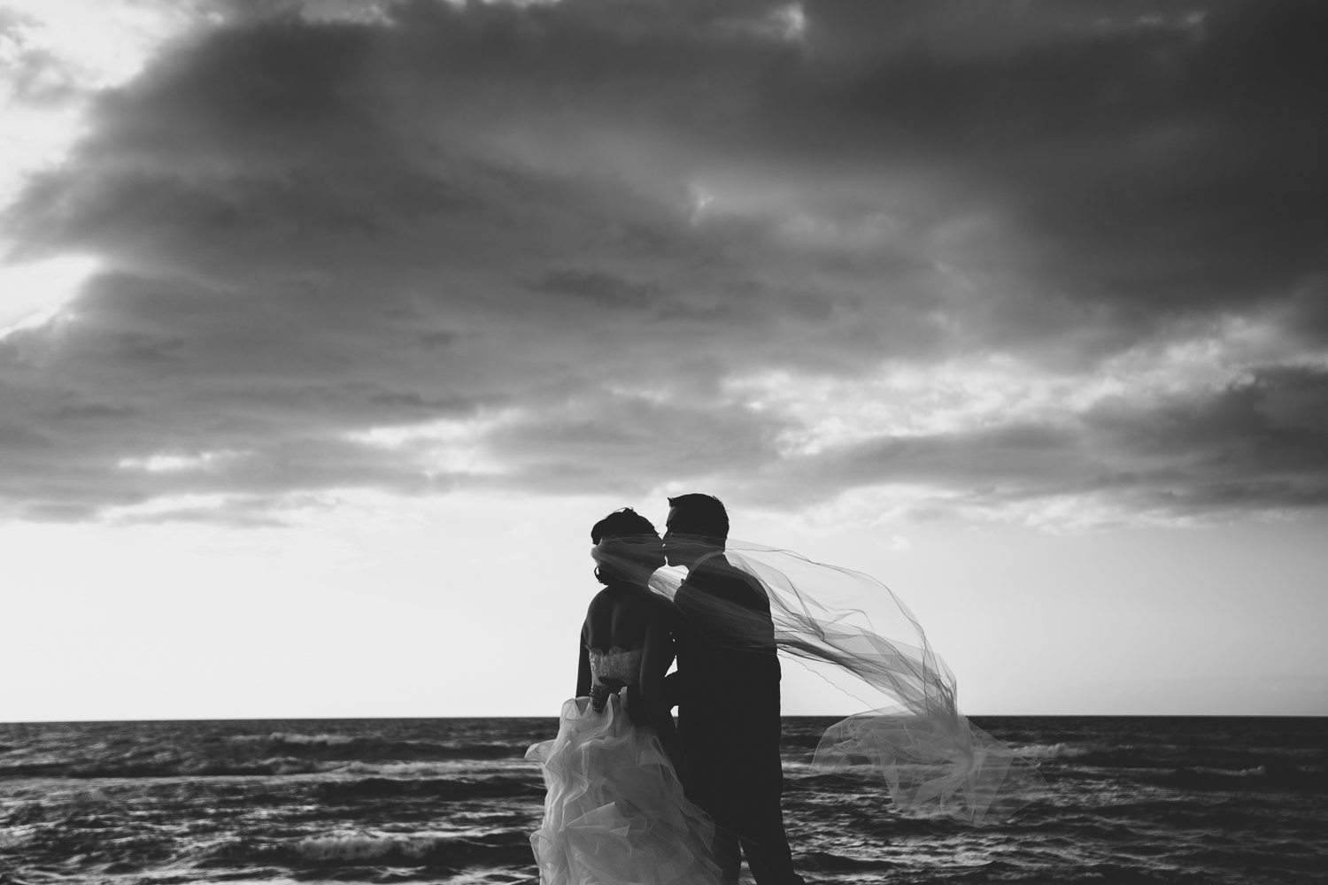 Most beautiful place for wedding photos on the Big Island is this beach at Four Seasons Hualalai