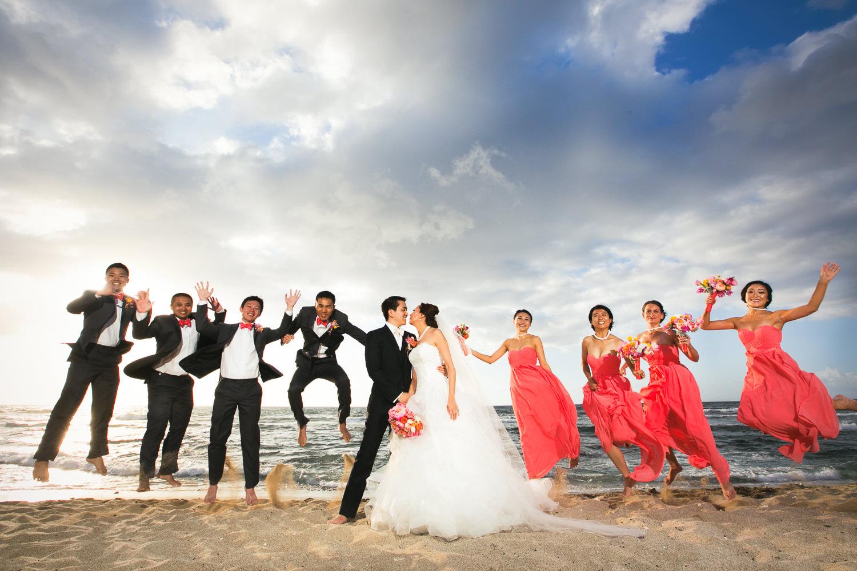 Bridal Party on the beach at Four Seasons Hualalai wedding