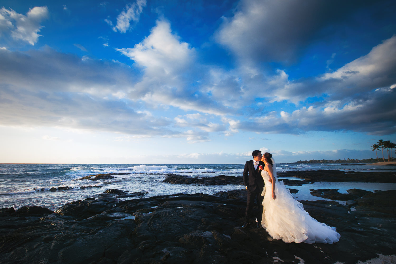 Another great place for wedding photos on the Big Island is this beach at Four Seasons Hualalai