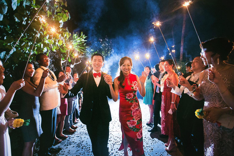 Amazing sparkler exit photo at Four Seasons Hualalai Wedding
