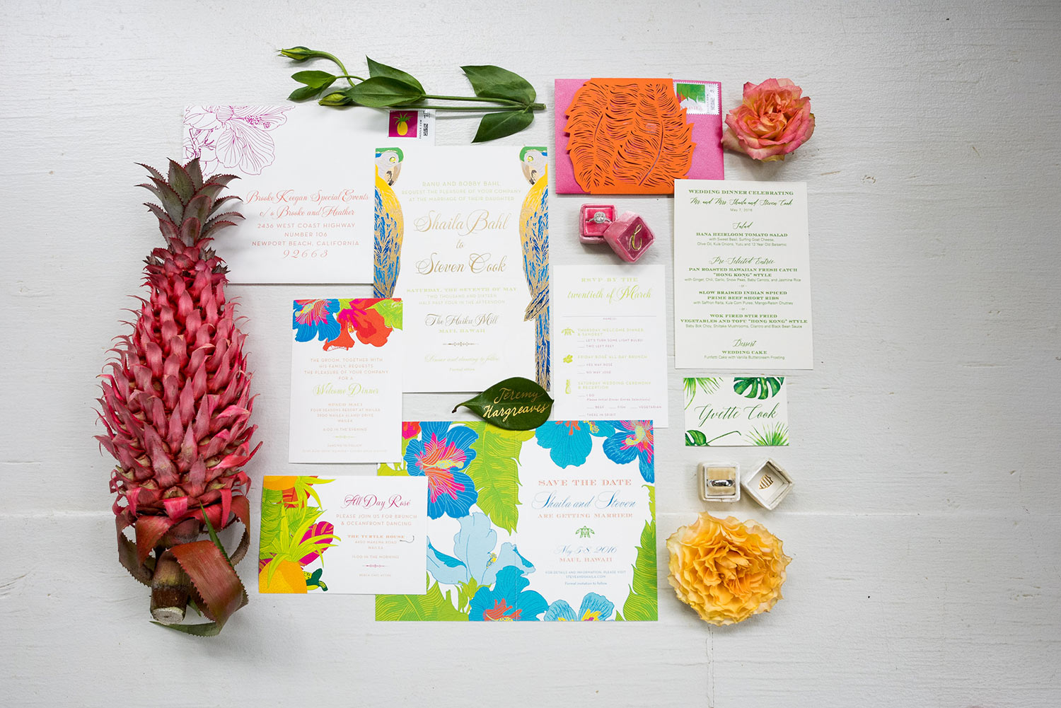 Ceci New York Hawaiian Themed Wedding Invitation