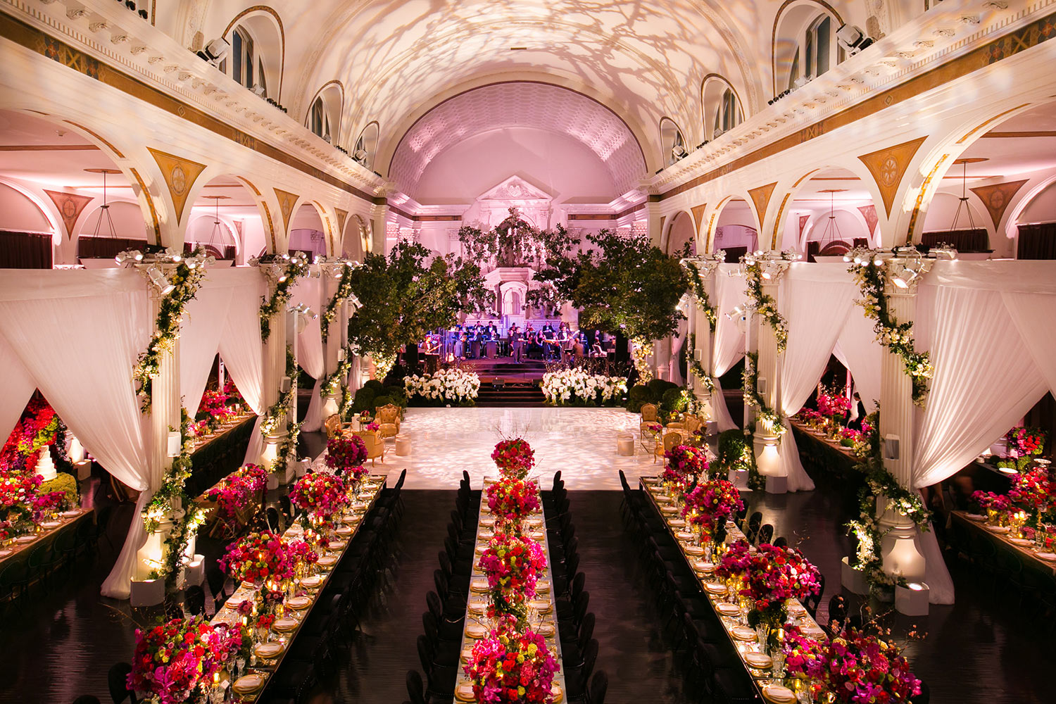 Luxury Vibiana Wedding Reception by Mark's Garden in downtown Los Angeles