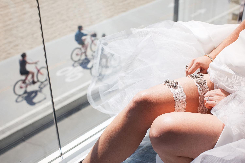 Santa Monica wedding bride getting ready