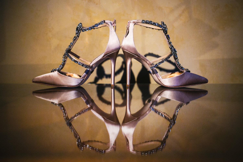 Creative wedding shoe photo at Langham Pasadena Wedding