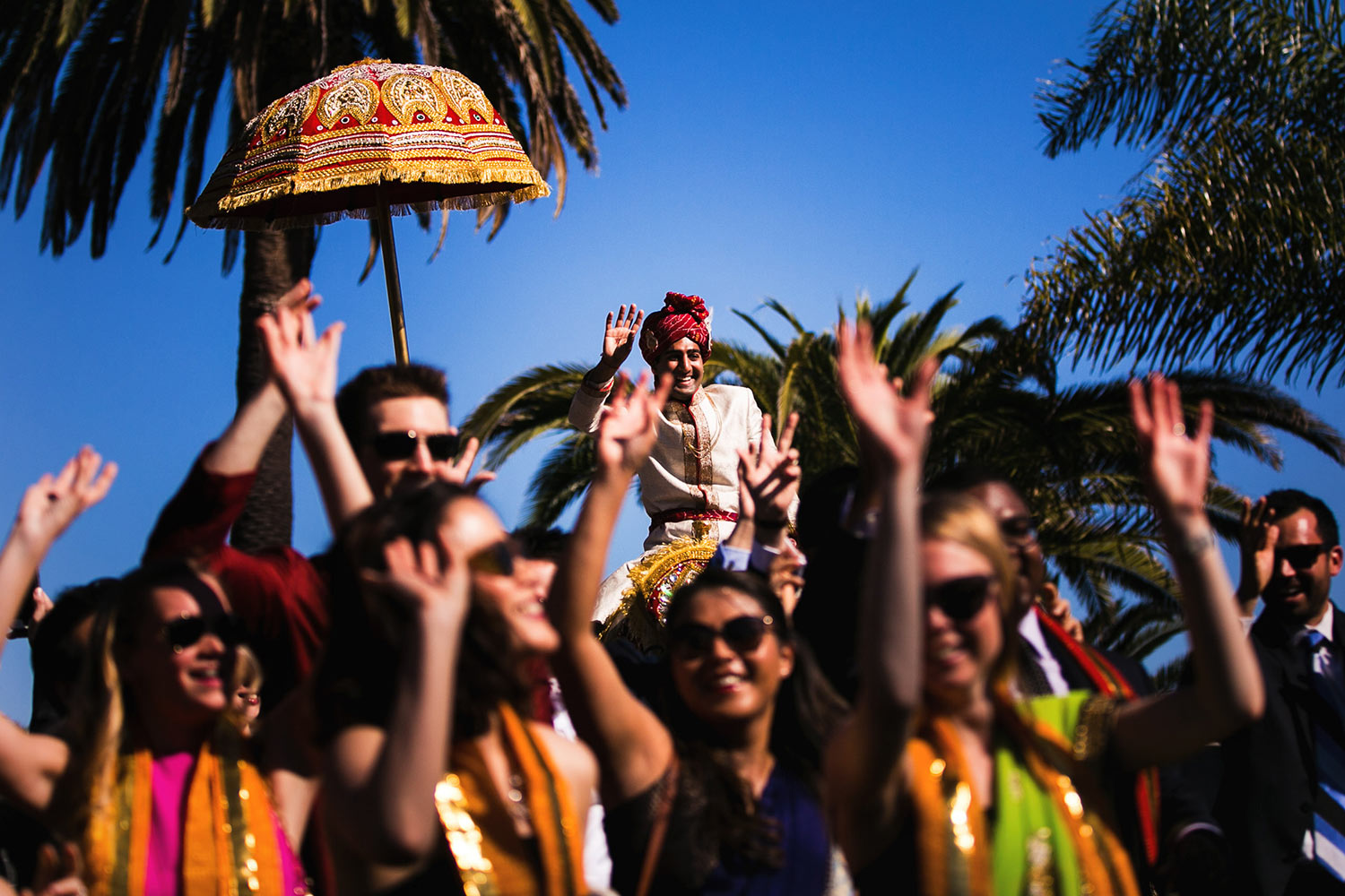 South Asian Indian Baraat with a horse at Bel-Air Bay Club