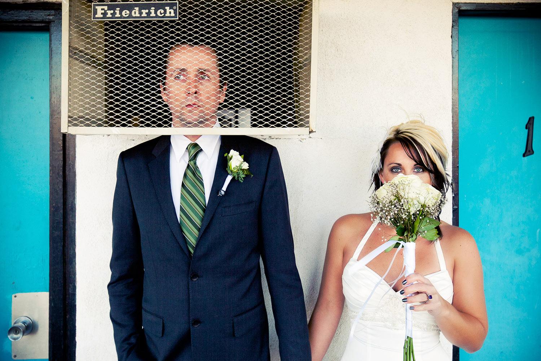 Funny wedding photo of Los Angeles bride and groom