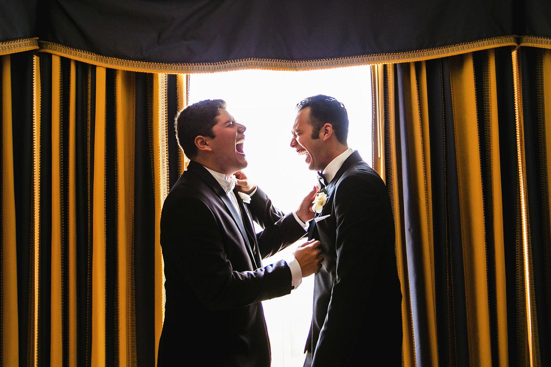 Langham Pasadena Wedding Photo of Groom getting ready