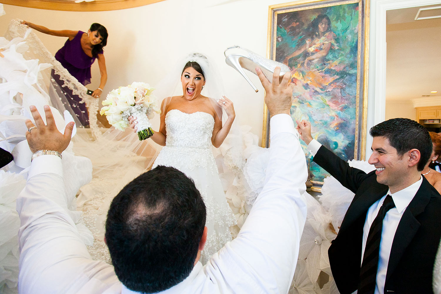 Los Angeles Armenian wedding photo stealing bride's shoes