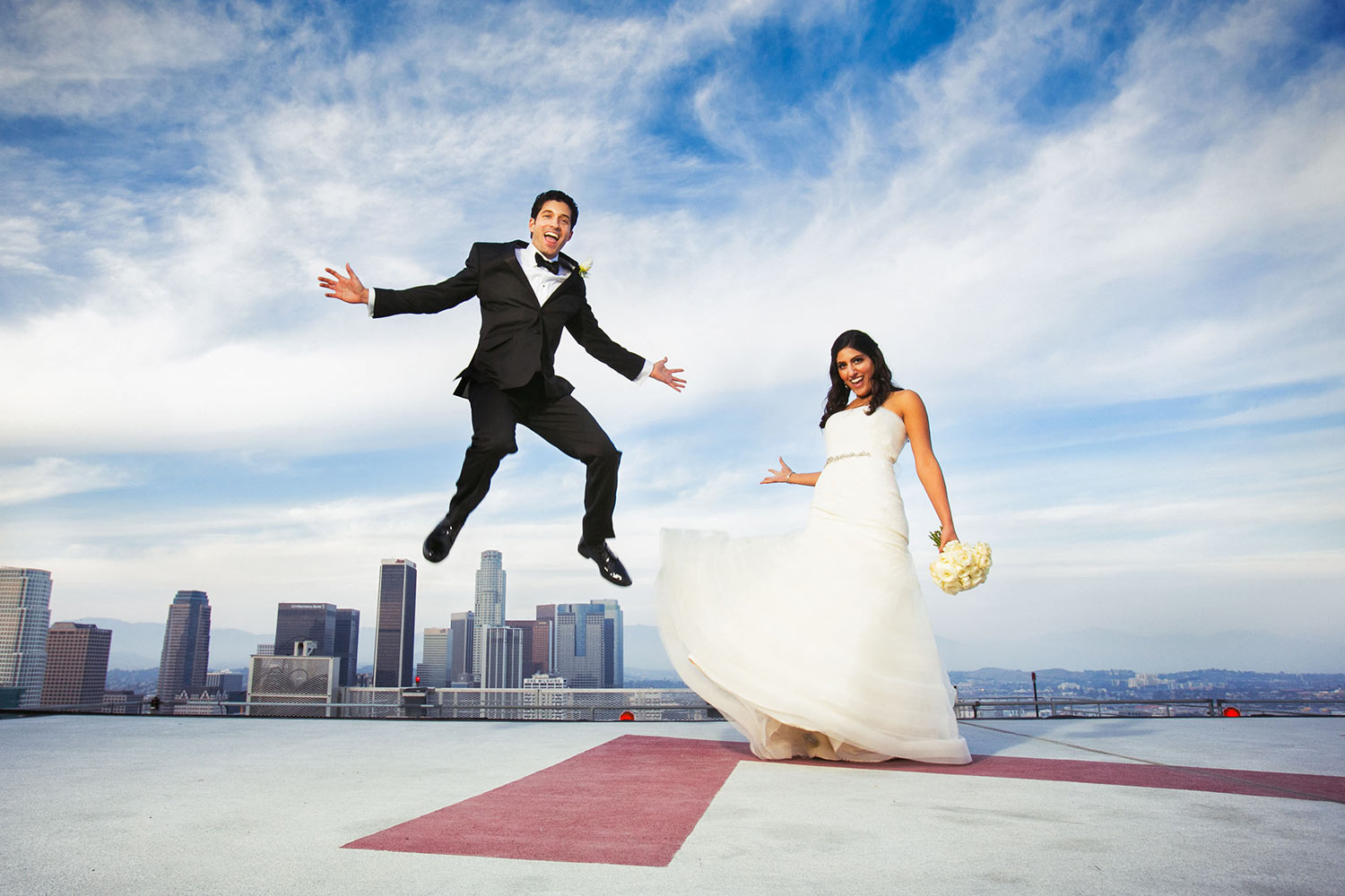 South Park Center Wedding Photo of Bride and Groom on helicopter pad
