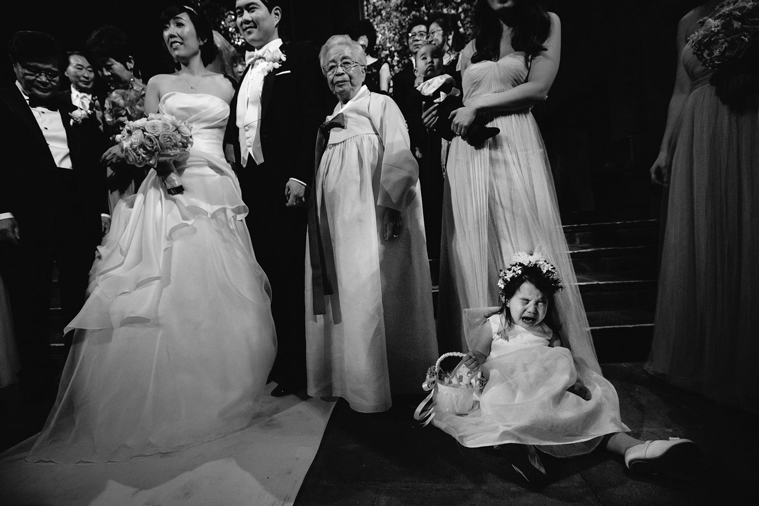 Amazing Los Angeles Asian Wedding photo with kid melting down