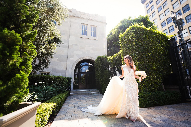 Vibiana Wedding Venue - Bride Outside Vibiana
