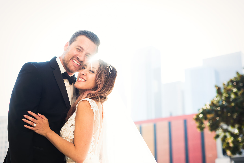 Vibiana Wedding Venue - Couple Embracing After Ceremony